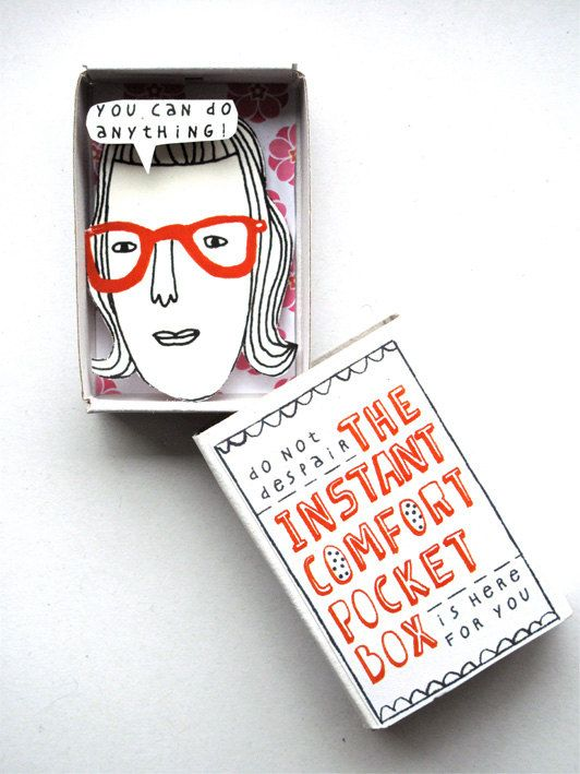 Instant Comfort Pocket Box  girl with red by kimslittlemonsters, €7.95