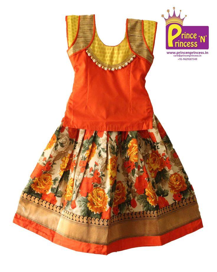 BUY Cute Floral design Pavadai Sattai Langa .. beautiful skirt online @ www.princenprince... .. Pattu Pavadai South India's Traditional wear..www.princenprince... #kids #choli #pattu #pavadai #girls #silk #traditional #designer #creative #indian #lehenga #kidswear #skirt #trendy #children #clothes #new #stylish #dresses #partywear #apparel #fashion #readymade #girl #dress #langa #voni