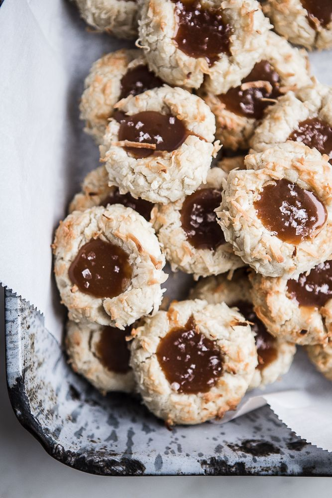 Coconut Thumbprint Cookies with Salted Caramel | Not just a Christmas Recipe! Bring these to a potluck, barbecue, or picnic this summer!