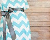 Maternity Hospital Delivery Gown, Robe, Headband and Burp Pad Bundle in Aqua Chevron - Hospital set to make your delivery Picture Perfect!