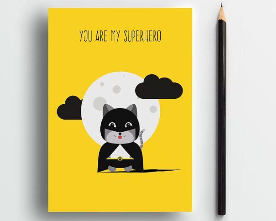 Batcat, Superhero card, cute cat card, cat lover card, sweet card, funny cat card, cute animal card, cute love card, dad cat, pets card
