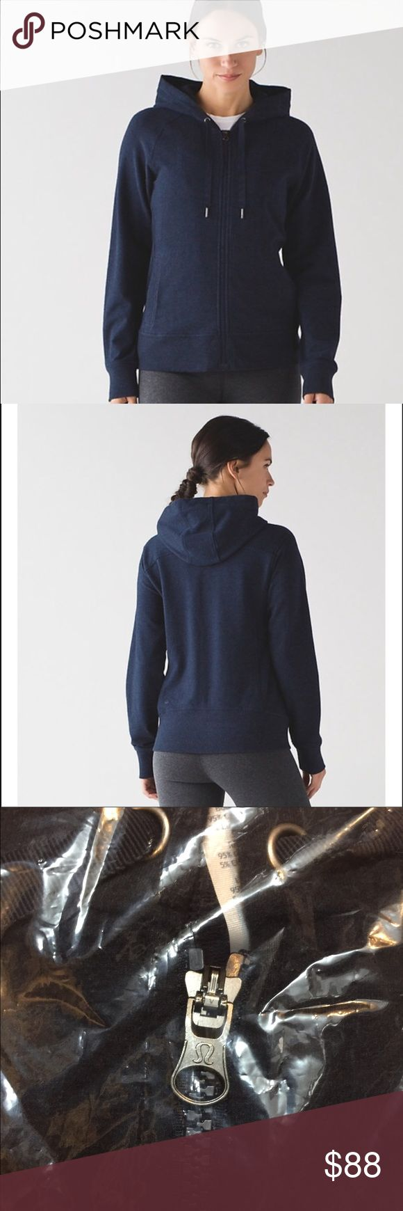 "Lululemon ""split hoodie"" NWT NWT Lululemon ""split hoodie"" in size 6. Color is a shade of heathered Navy. I purchased 3 in different colors and find that I only need 1. Hoodie still in sealed package so stock photos from Lululemon site included for reference. *hoodie is thinner than scuba version. **cross listed on M lululemon athletica Tops Sweatshirts & Hoodies"