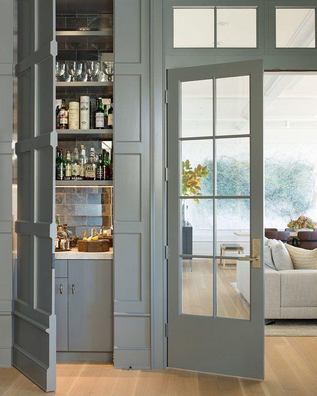"1,399 Likes, 18 Comments - Lavender Hill Interiors (@lavenderhillinteriors) on Instagram: ""A hidden closet houses a discreet bar cabinet. Image via @archdigest."""