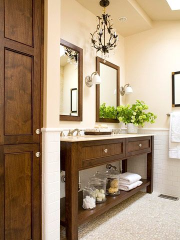 dark wood in master bath