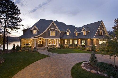 DreamDreams Home, Lakes House, Dreams Big, Beautiful Homes, Home Exterior, Lakes Home, Dreams House, Traditional Exterior, Brown Bays