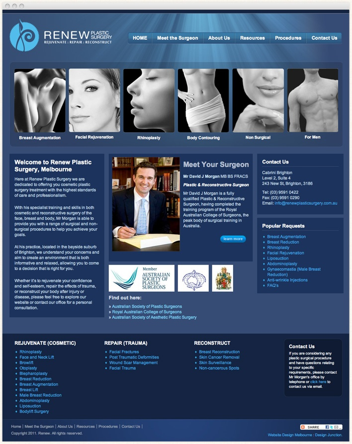 Renew Plastic Surgery Melbourne are specialists in Plastic Surgery, Breast Augmentation, Tummy tuck, Rhinoplasty, Liposuction & other non surgical solutions.