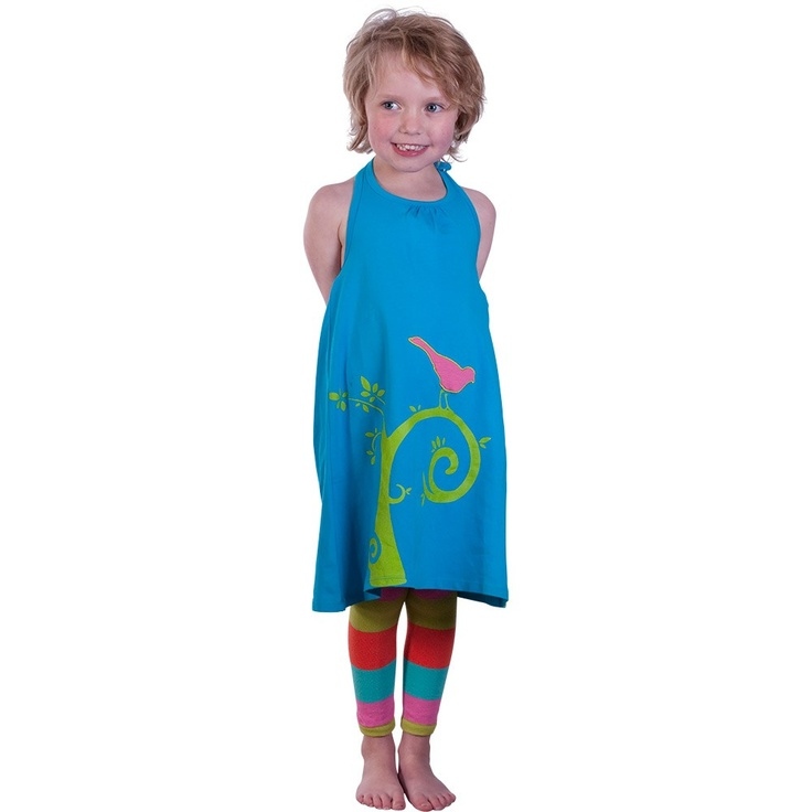 Light Blue Halter Neck Dress with Tree Print and Applique Bird