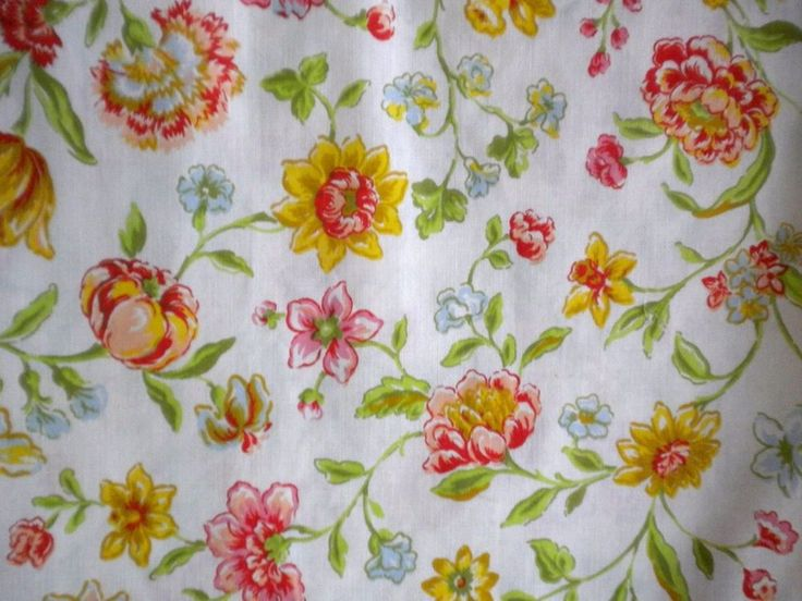 vintage muslin flat twin size bed sheet bright floral pink orange fabric