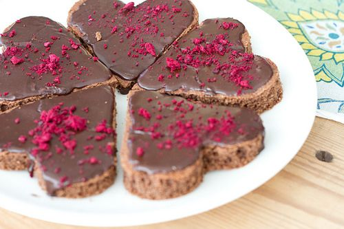 Gluten-free buckwheat hearts with mocha glaze and blackcurrant dust @ Nami-Nami Easter Brunch, 2014