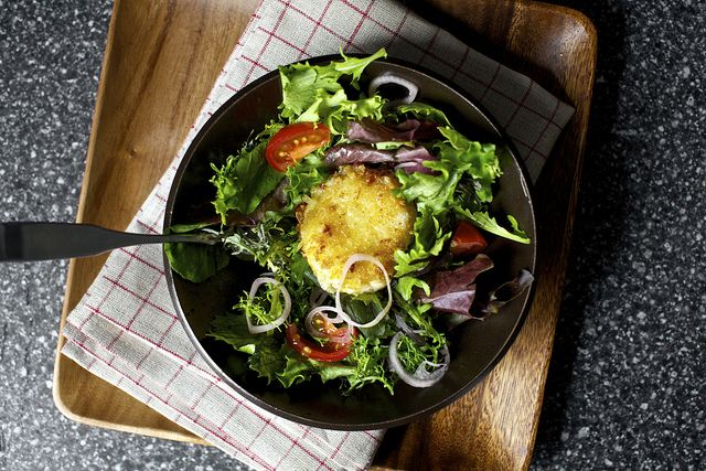 melty goat cheese salad crouton by smitten, via Flickr