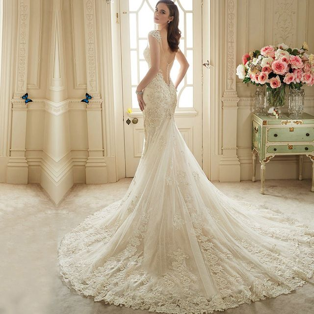 Vestido De Noiva Renda 2016 Do Laço Do Vintage Backless Vestidos de Casamento Da Noiva Sexy Civis Vestidos de Casamento Da Sereia 2016 Vestidos de Casamento