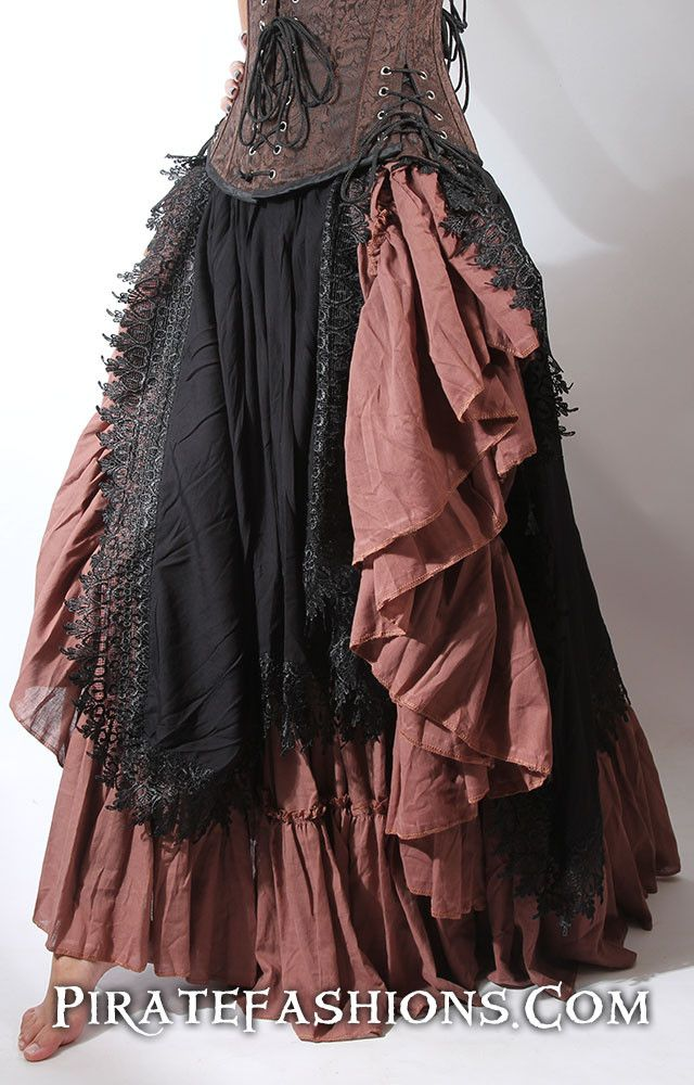 Vixen Skirt – Pirate Fashions - Layer two of them, burgundy and saffron gold on top of the black doxie petticoat.