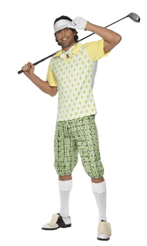 Fun kostuum van een Golfer. Het Golfers kostuum is wit, geel en groen gekleurd. Het Golfers pak bestaat uit een geruite lichtgroene broek, wit shirt met groene ruitjes en gele mouwtjes. Inclusief zonneklep, strikje en handschoen. Artikel is enkel in maat Medium (herenmaat 46/48) leverbaar.