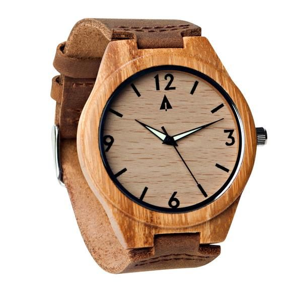 Tree Hut Men Leather Watch | This wooden Tree Hut watch has genuine brown leather bands and is handmade in San Francisco from real wood with available engraving.