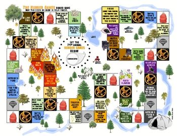 The Hunger Games themed board game; play this one or have students create their own. Includes game shown, blank template, directions, template for making die, and printable game pieces. #education #games