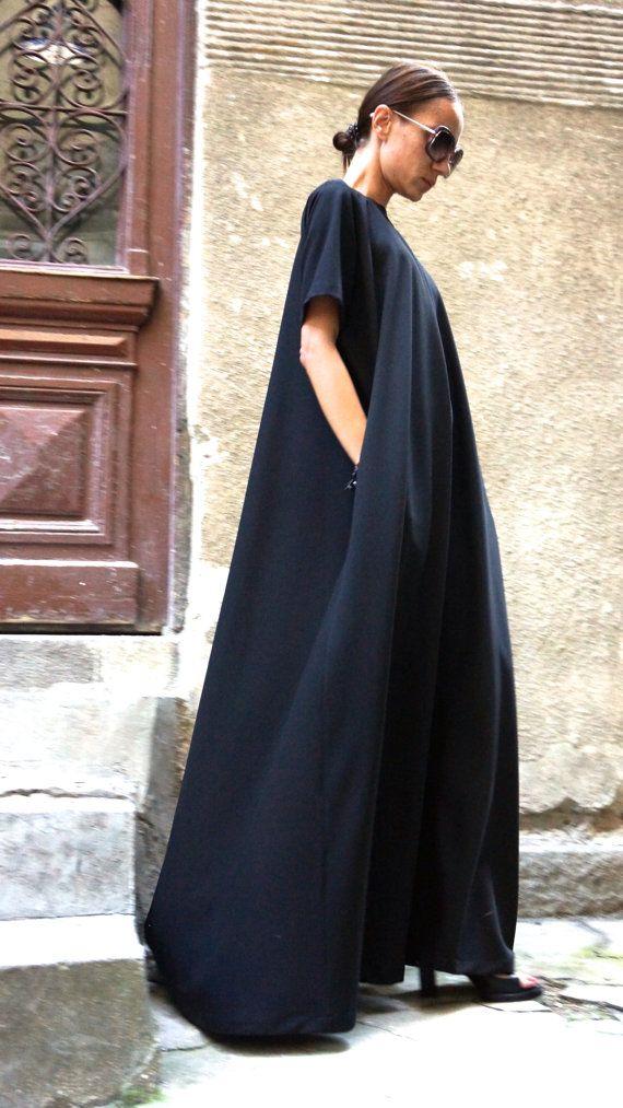 XXLXXXL Maxi Dress / Black Kaftan / Extravagant Long by Aakasha
