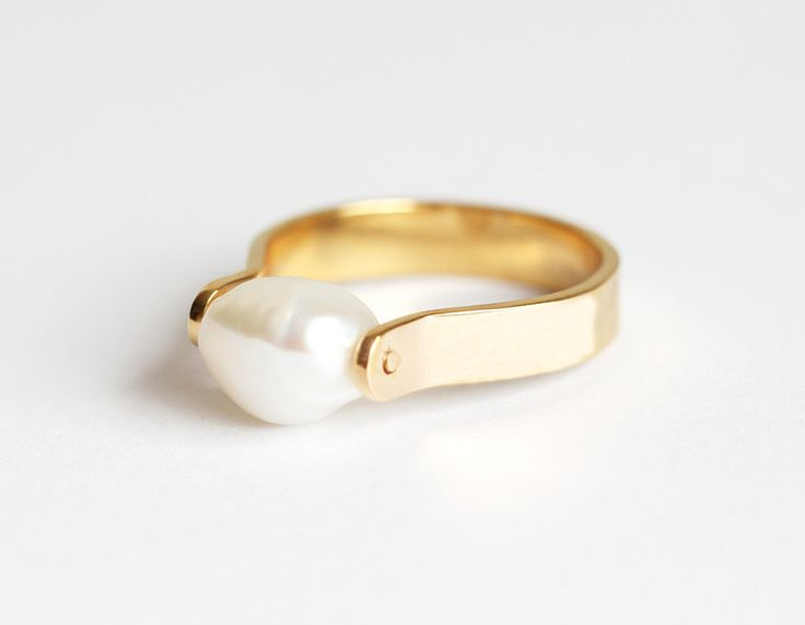 Pearl Ring, Freshwater Pearl Ring, Gold Pearl Ring, Asymmetrical Ring, Silver Pearl Ring, Simple Pearl Ring by threelayers on Etsy https://www.etsy.com/listing/248338167/pearl-ring-freshwater-pearl-ring-gold