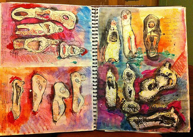 These A2 sketchbook pages show the development of curving, organic sculptural forms, inspired by Henry Moore. The simple technique of wax resist (crayon drawings with washes of dye), results in an eye-catching page: quick and confident recording of ideas on paper.