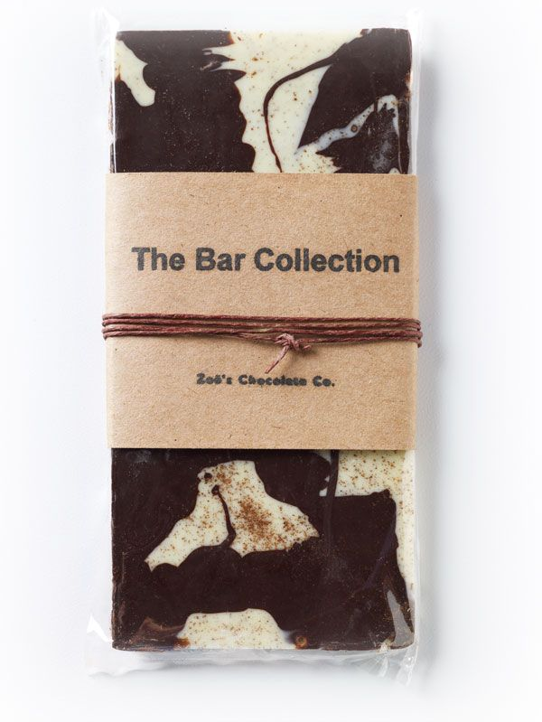 The Espresso Bar  For the coffee lover, deep, dark Swiss chocolate marbled with real Italian espresso flavored white chocolate.  Please visit our website for your next purchase: http://www.zoeschocolate.com/shop?cat=The-Bar-Collection