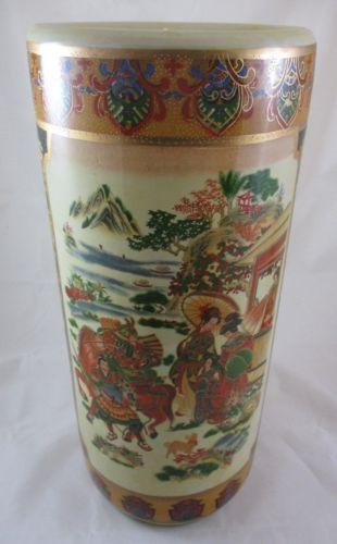 Ceramic-Oriental-Umbrella-Stand-Vase-Geisha-Samurai-Warrior-18-Inch-NOS-J3080