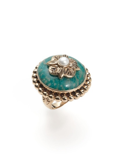 Round Amazonite & Pearl Floral Ring by Stephen Dweck on Gilt.com