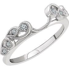 14k White Gold Diamonds Vintage Solitaire Wrap Ring Guard solitaire enhancer