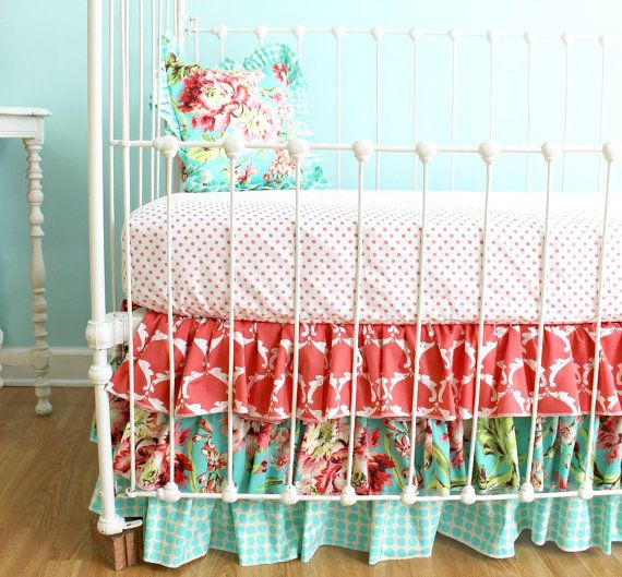 """Love the 3 tiered ruffle! Coral Bumperless Crib Bedding - """"Coral Bliss"""" design"""