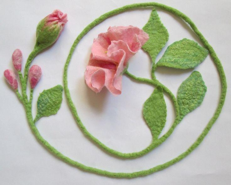 Felt Lariat , Flower Necklace ,Felted Flower Scarf , Flower Tie ,Wearable Art Accessory, Art to wear,Felt belt by AgathaBee on Etsy
