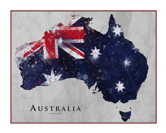AUSTRALIA Map, Watercolor Map, Map of Australia, Queensland, Australian Flag, Perth, Canberra, Melbourne,