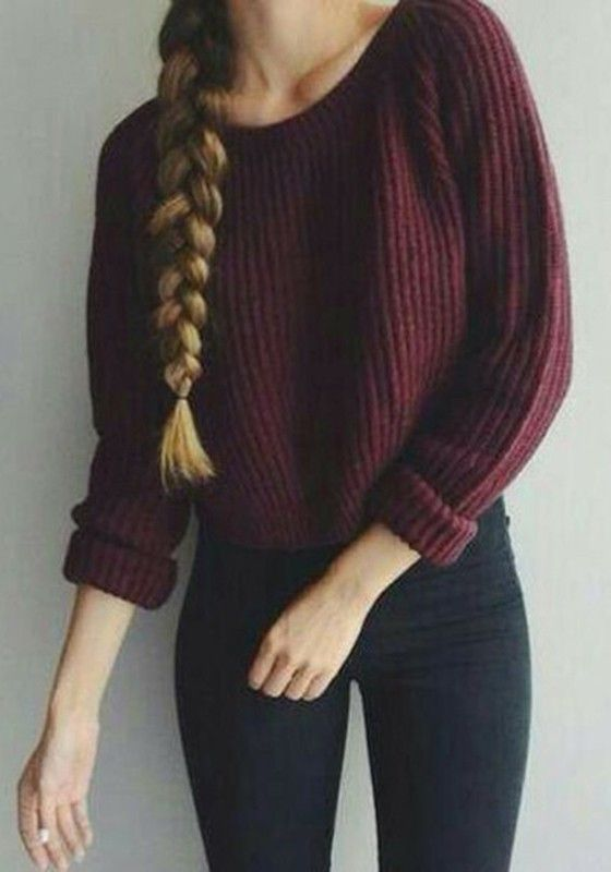 Wine Red Plain Oversized Knit Long Sleeve Cotton Short Pullover Sweater