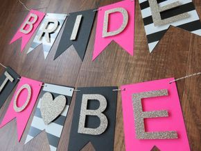 Kate Spade Inspired - Bride to Be Banner Pink, Gold, White Bachelorette party decorations. BACK IN STOCK!  A boutique and chic banner for the blushing Bride! This Bride to Be banner is the perfect way to decorate her bridal shower, bachelorette party, or even the bridal suite on wedding day! SIZE  Each banner card is 3 x 5 Inches Banner cards also available in a larger size: 5 x 7 inches BRIDE ❤ TO BE   Gorgeous gold glitter letters  BANNER CARD COLORS  •Pink •Black •Black & white stripes...