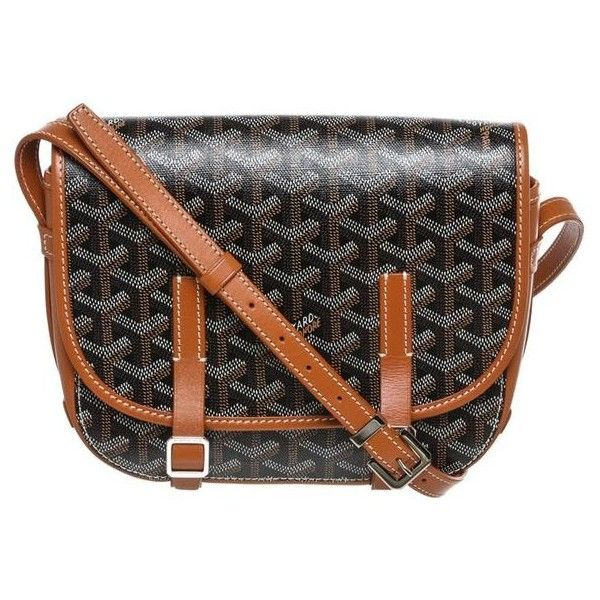 Pre-Owned Goyard Black and Tan Belvedere Pm Crossbody Handbag ($1,905) ❤ liked on Polyvore featuring bags, handbags, shoulder bags, black, long strap shoulder bags, man bag, crossbody handbag, crossbody hand bags and tan purse