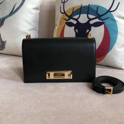 2018 Saint Laurent Domino Medium Bag in black smooth leather  4784b8e0c5925