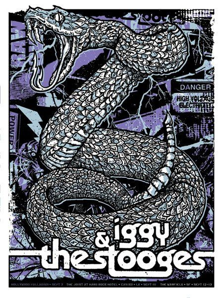 Iggy Pop & The Stooges Silk Screen Snake Raw Power by gigart, $35.00