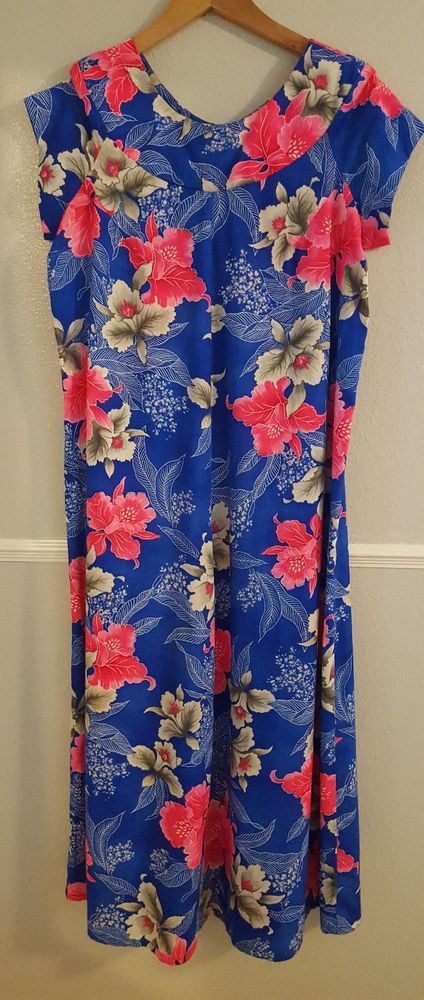 727b680fd6fd6 HUKILAU FASHIONS Vintage Hawaiian Dress Blue Floral Maxi Barkcloth - LARGE   HukilauFashions  Cheongsam