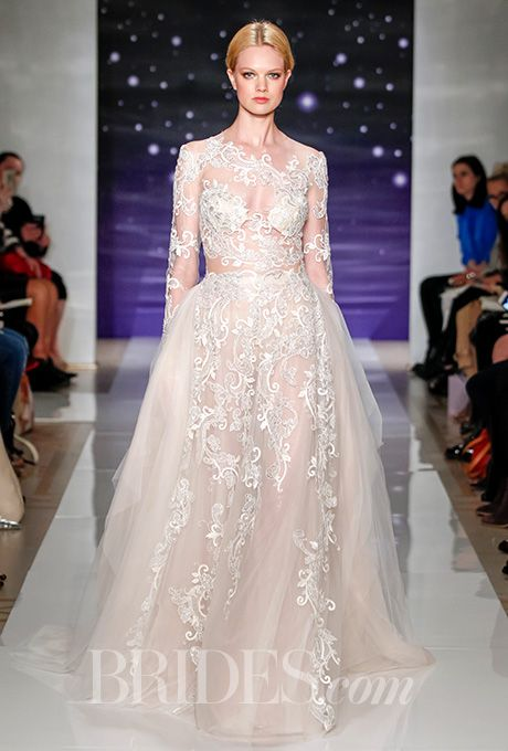 Reem Acra re-embroidered metallic lace wedding dress - Spring 2016 Collection