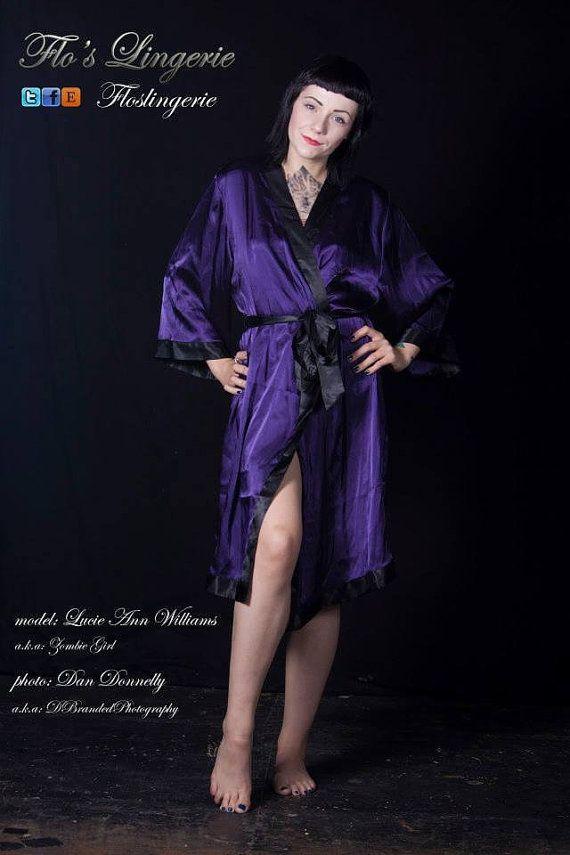 Vintage Janet Reger kimono S  purple satin by FlosLingerie on Etsy