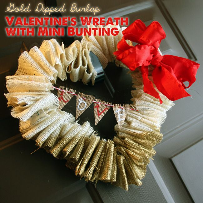 Gold dipped Valentine's wreath with bunting
