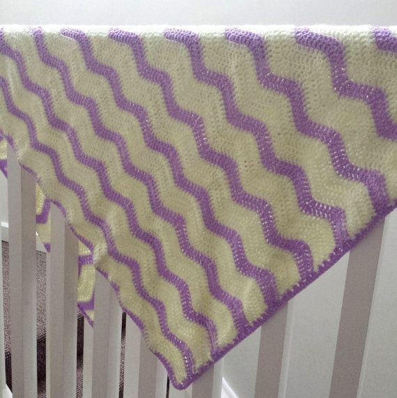 Crochet Baby BlanketPale Yellow And Purple by SophiesKnitStuff