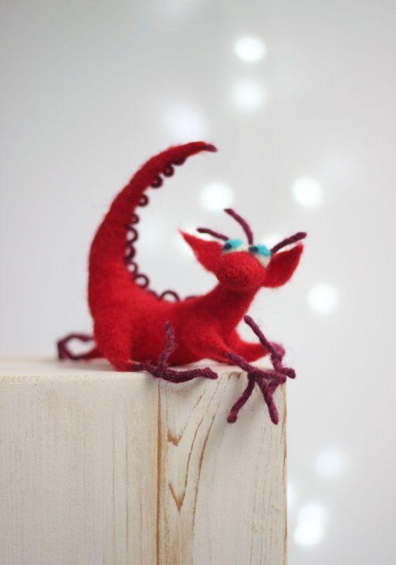 Needle Felt Dragon  Dreamy Red Dragon  by FeltArtByMariana on Etsy