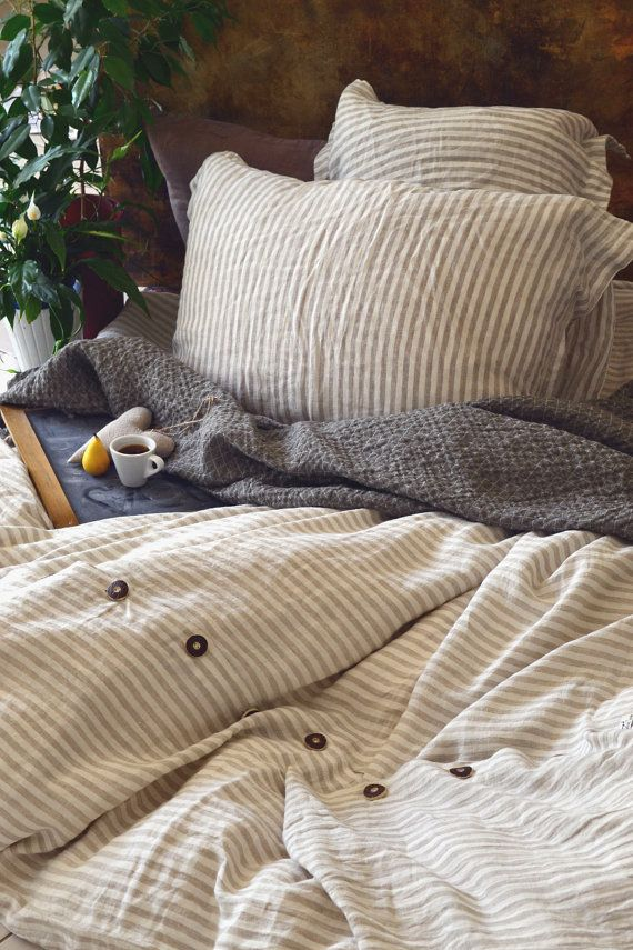 """US King size Natural linen bedding: stonewashed linen duvet cover """"Stripes and Buttons"""" on Etsy, $281.46"""