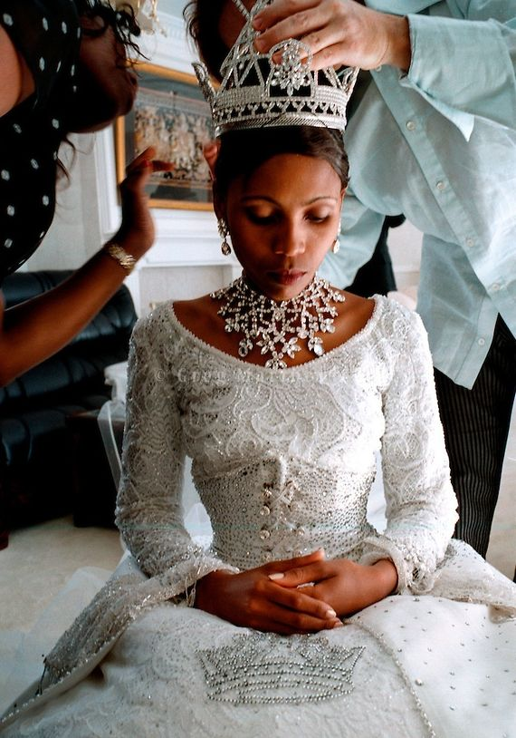 Anna Karabo Mots'oeneng, later Queen 'Masenate Mohato Seeiso, on her wedding day with King Letsie III, February 18, 2000 in the Lesotho Capi...
