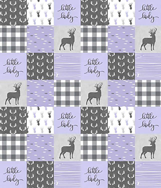 Purple Woodland Quilt, Purple Crib Bedding, Baby Girl Quilt, Patchwork Quilt, Woodland Crib Quilt, Nursery Minky Blanket, Gray Grey Deer