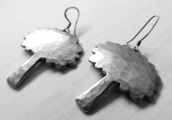Tree earrings hammered metal earrings by TransylvanianTrove
