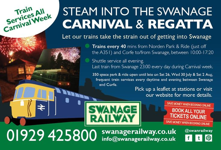 Avoid the queues and let the train take the strain going to the Swanage Carnival - special additional trains and 350 space park and ride open until after the fireworks!!