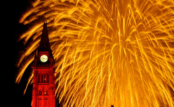 Fireworks for Canada Day on Parliament Hill