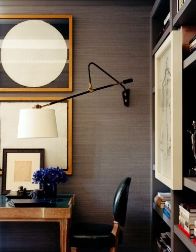 great colors + textures..sophisticated for both male + female: Wall Lamps, Lights Fixtures, Offices Design, Interiors Design, Grey Wall, Design Home, Houses Design, Home Offices, New York Apartment