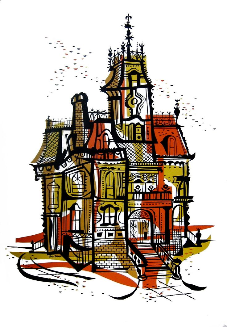 Mansion Drawing: 1973 Haunted House Print By Jack Skram