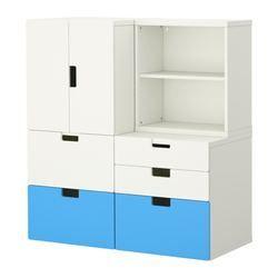 "STUVA storage combination w doors/drawers, multicolor, white Width: 47 ¼ "" Depth: 19 ¾ "" Height: 50 ½ "" Width: 120 cm Depth: 50 cm Height: 128 cm"