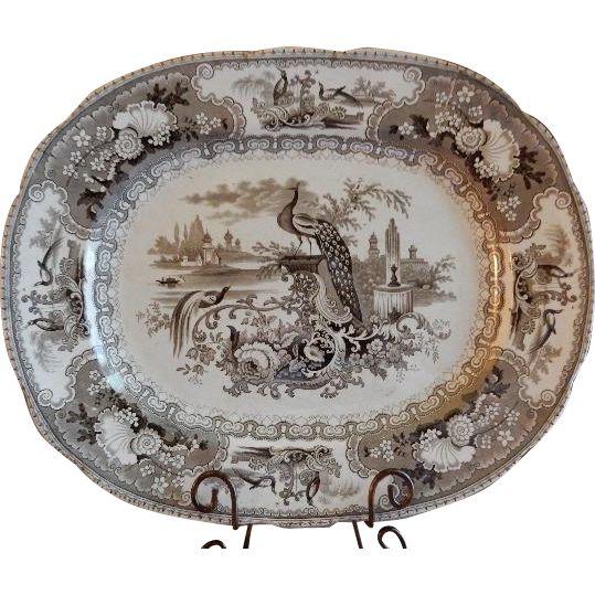 "Staffordshire Pottery Brown Transfer-ware ""Peacock"" Pattern Oval Platter www.rubylane.com @rubylanecom"